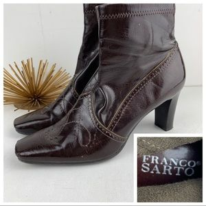 Franco Sarto Brown Wingtip Shiny Ankle Boots sz 6